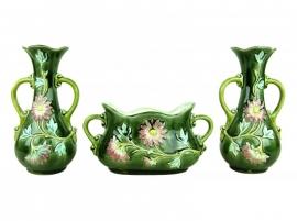 Vazen met bloemmotief in reliëf - Set van 3