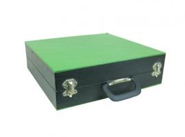 Platenkoffer groen/zwart met harmonica