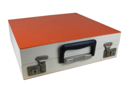 Platenkoffer oranje/wit met harmonica