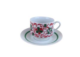 Kop en schotel retro bloemmotief rood/groen