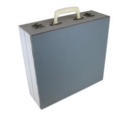 Vintage platenkoffer grijs 2-kleurig