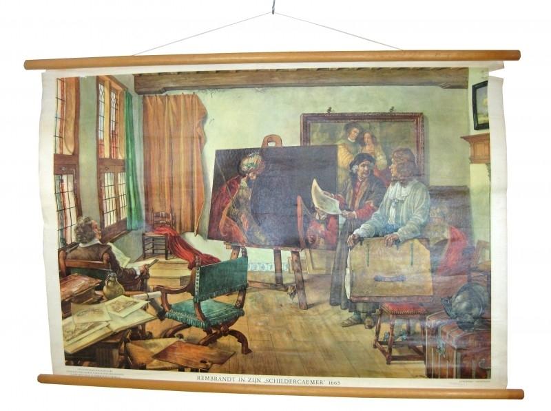 Oude schoolkaart Rembrandt