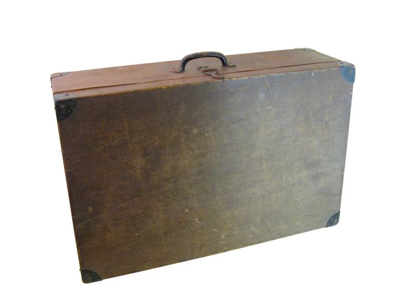 Oude houten koffer