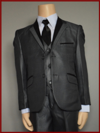 Bruidsjonker Kostuum Grijs/zwarte bies  5-delig  Tygo Maat 80 t/m 164 (282)