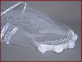 Haarband  met sluier - Wit (409)