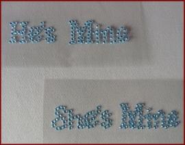 HE'S MINE en SHE'S MINE Schoenstickers Zilver - Blauw