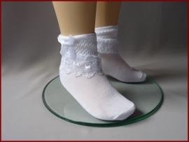 Sokjes breed kant Wit. Maat 20 t/m 31 (58)