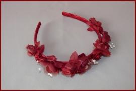 Haarband bloemen Bordeauxrood (407)