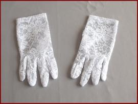 Handschoen van rekbaar kant wit (89)