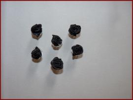 6 Haarklemmetjes met roosjes - Zwart (459)