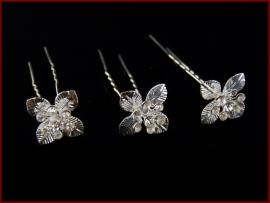 Haarpinnen zilver kleur Bloem (479)