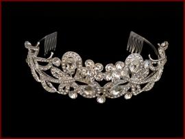 Tiara- Kroon met Glassteentjes en Strass (606)