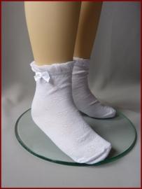 Sokjes met strikje Ivoor en Wit. Maat 15 - 35 (52)