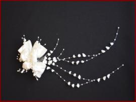 Haarkam satijn bloem ivoor (1427)