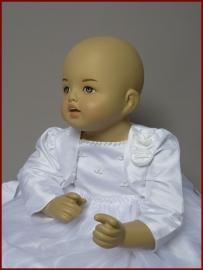 Bruidsmeisjes bolero Ymke - baby - Ivoor en wit (02)