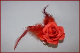 Haarbloem op haarklem Rood (456)