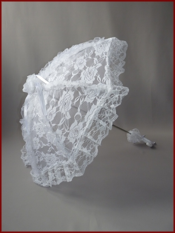 Bruidsparasol kant wit en creme (59)
