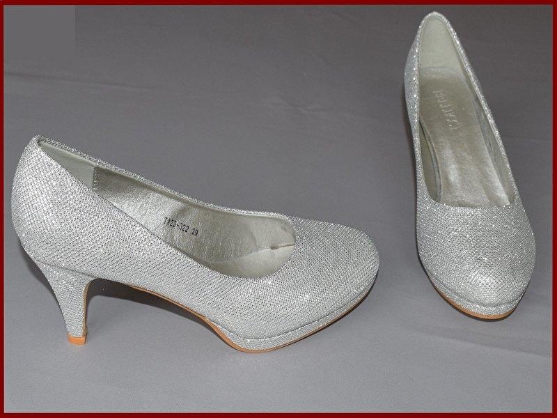 Bruids schoenen zilver Maat 36 t/m 41 (351)