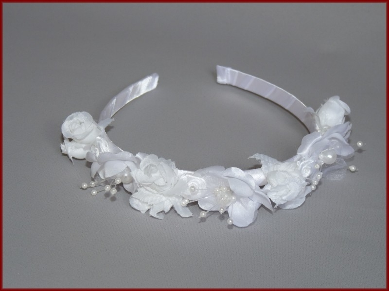 Haarband bloemen wit en Ivoor (407)