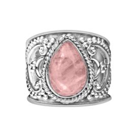 Bohemian Rozenkwarts ring zilver