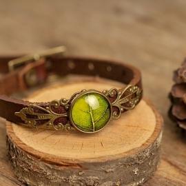 """Leren """"Leaf"""" Armband smal bruin"""