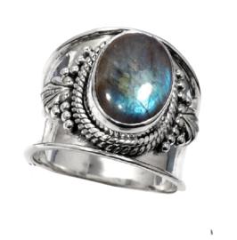 Labradoriet Boho ring zilver