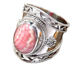 Rhodochrosiet Boho ring zilver