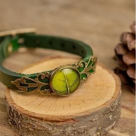 "Leren ""Leaf"" Armband smal groen"