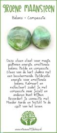 Groene Maansteen zaksteen incl Edelsteenkaartje