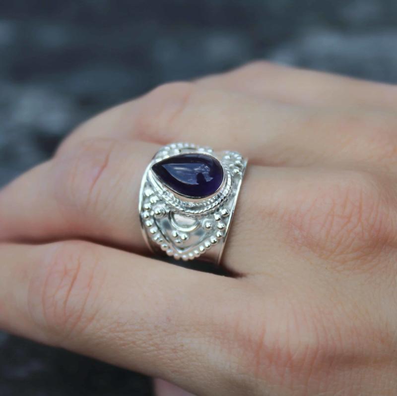 Bohemian Amethist ring zilver