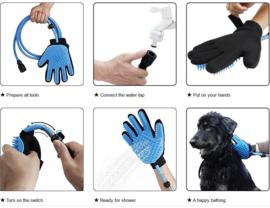 Hondenborstel handschoen met water aansluiting