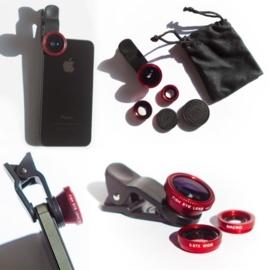 Clip met 3 Lensjes voor smartphone, tablet en laptop