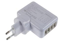 4 Ports USB oplader met 4 Internationale stroom stekkers