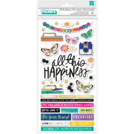 Vicki Boutin Color Study Thickers Stickers 65/Pkg All This Happiness Phrase/Chipboard