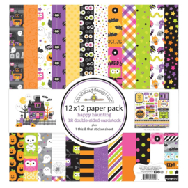 """Doodlebug Double-Sided Paper Pack 12""""X12"""" 12/Pkg Happy Haunting preorder"""