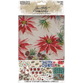 "Tim Holtz Idea-Ology Worn Wallpaper 5""X8"" 24/Pkg Christmas, 12 Designs/2 Each preorder"
