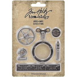 Tim Holtz Idea-Ology Metal Odds & Ends 7/Pkg Antique Nickel
