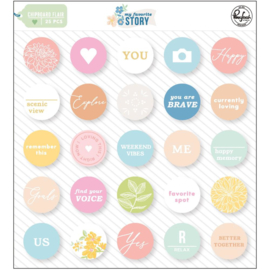 PinkFresh Chipboard Flair My Favorite Story, 25/Pkg