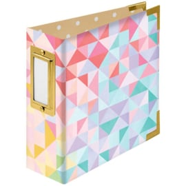 """We R Paper Wrapped D-Ring Album 4""""X4"""" Geometric By Paige Evans PREORDER"""