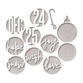Sizzix Thinlits Die Set - 12PK Circle Words, Christmas 664205 Tim Holtz