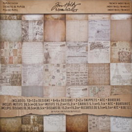 "Tim Holtz Idea-Ology Paper Stash Double-Sided Paper Pad 12""X12"" 36/Pkg French Industrial"