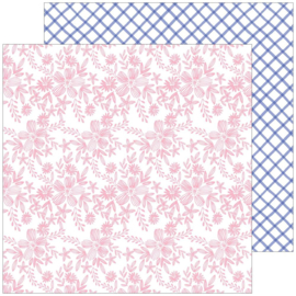 """PinkFresh Happy Blooms Double-Sided Cardstock 12""""X12"""" Embroidered"""