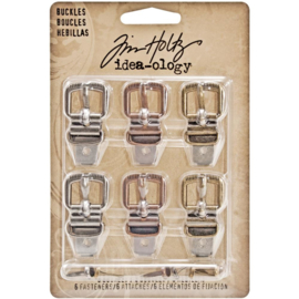 "Tim Holtz Idea-Ology Metal Buckles W/Brads 1.5"" 6/Pkg Antique Nickel, Brass & Copper"