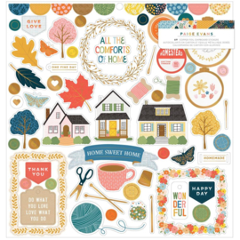 """Paige Evans Bungalow Lane Chipboard Stickers 12""""X12"""" Icons & Phrase preorder"""