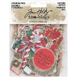 Tim Holtz Idea-Ology Ephemera Pack 57/Pkg Snippets Tiny Die-Cuts/Christmas