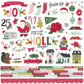 """Simple Stories Holly Days Cardstock Stickers 12""""X12"""" Combo"""