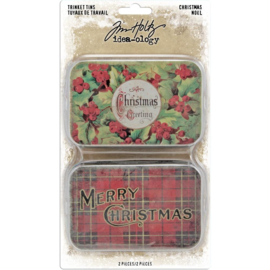Tim Holtz Idea-Ology Metal Trinket Tins 2/Pkg Christmas