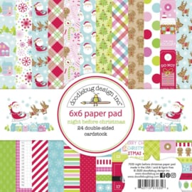 """Doodlebug Double-Sided Paper Pad 6""""X6"""" 24/Pkg Night Before Christmas, 12 Designs/2 Ea"""