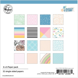 "Pinkfresh Studio Single-Sided Paper Pack 6""X6"" 32/Pkg My Favorite Story, 16 Designs/2 Each"