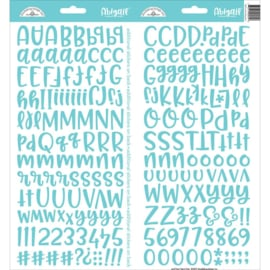 "Doodlebug Abigail Font Cardstock Alpha Stickers 6""X13"" 2/Pkg Swimming Pool"